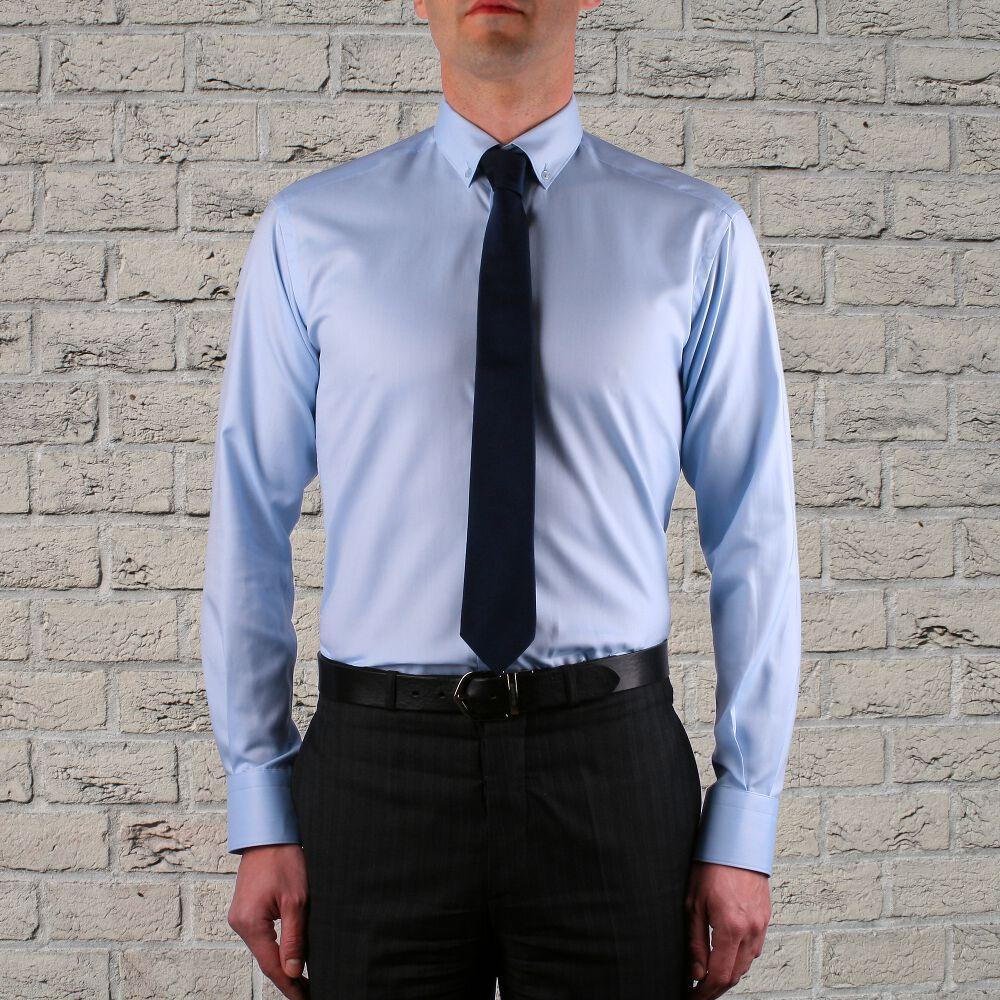 Armada Camisa Guinga Azul Y Blanco Con Un Botones En El Cuello