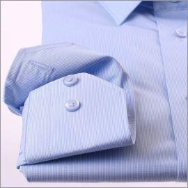 Chemise bleue à très fines rayures blanches