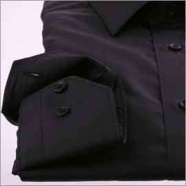 Chemise noire tissu popeline à poignets simples