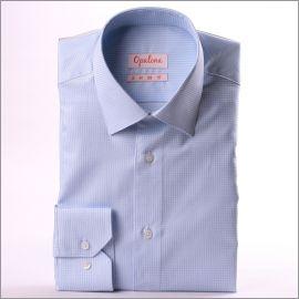 Chemise à petits carreaux bleu clair et blancs