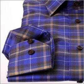 Chemise à carreaux violets, jaunes et marrons