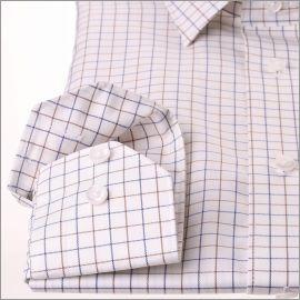 Chemise blanche à carreaux bleu marine et marrons