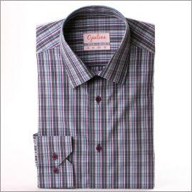 Chemise à carreaux gris, mauves et bleu clair
