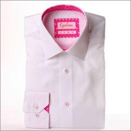 Chemise blanche à col et poignets à motifs flamants roses