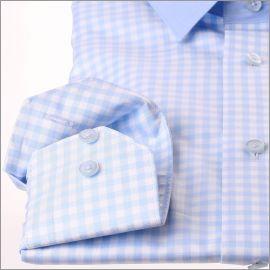 Chemise à carreaux bleus et blancs, col et bande sous les boutons unis bleu clair