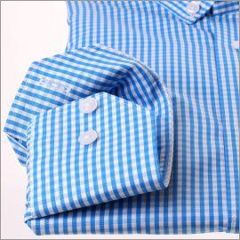 Chemise à carreaux bleu turquoise et blancs et col boutonné