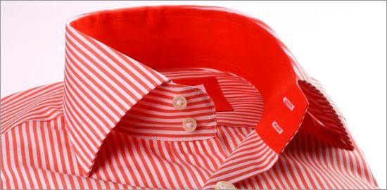 Chemise rayée orange et blanc à col et poignets unis oranges