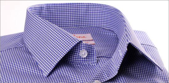 Chemise à petits carreaux bleu indigo et blancs
