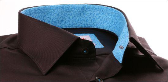 Chemise marron à col et poignets à motifs fleuris bleus