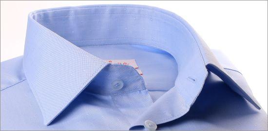 Chemise bleu clair tissu Pin point à petits pois ton sur ton