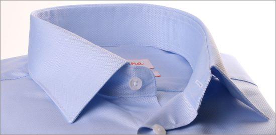 Chemise Jacquard bleu ciel à poignets mousquetaires