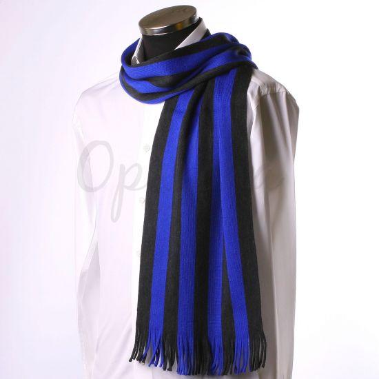 Echarpe à rayures grises et bleu électrique
