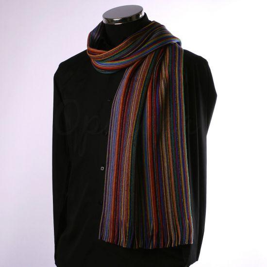 Echarpe en laine à fines rayures multicolores
