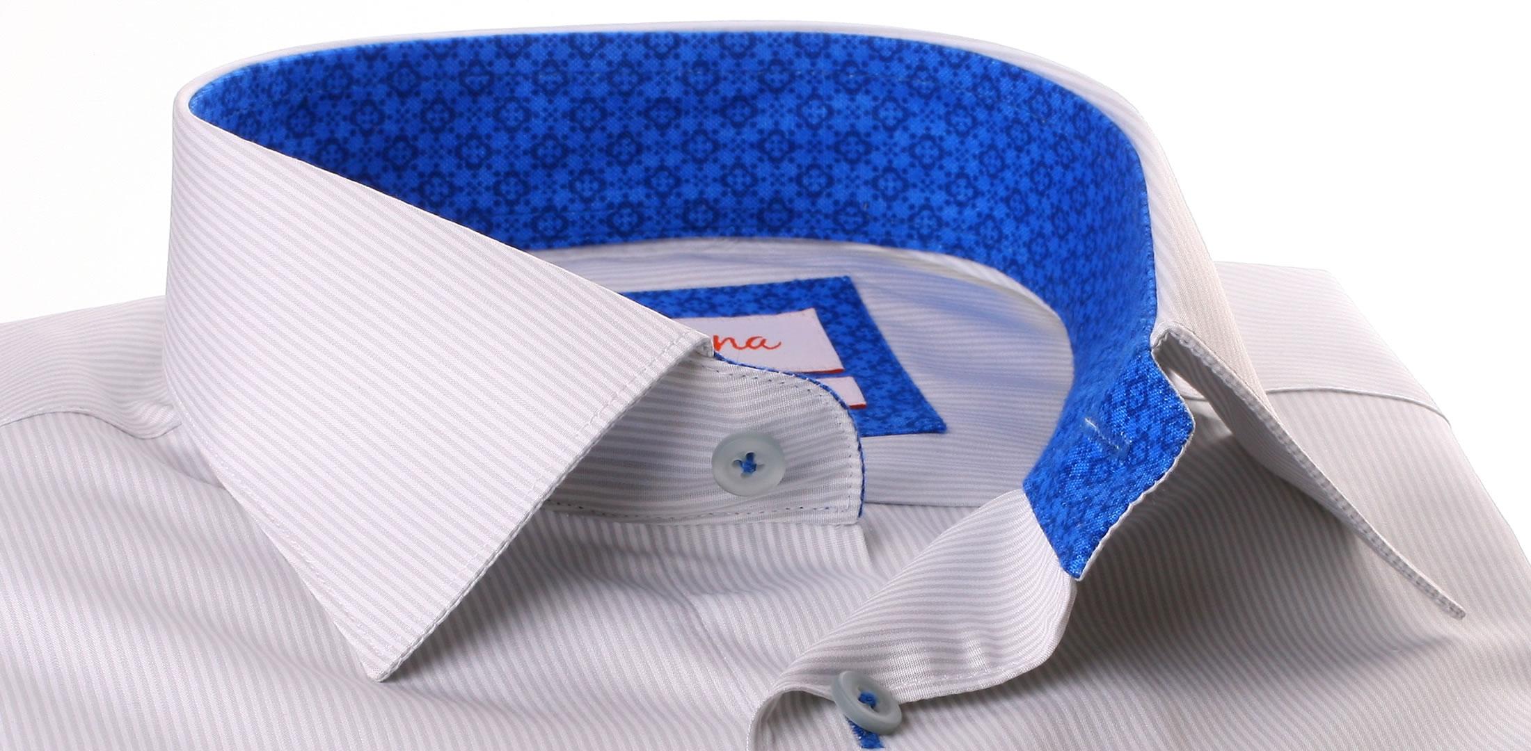 chemise fines rayures grises et blanches col et poignets motifs bleu roi. Black Bedroom Furniture Sets. Home Design Ideas