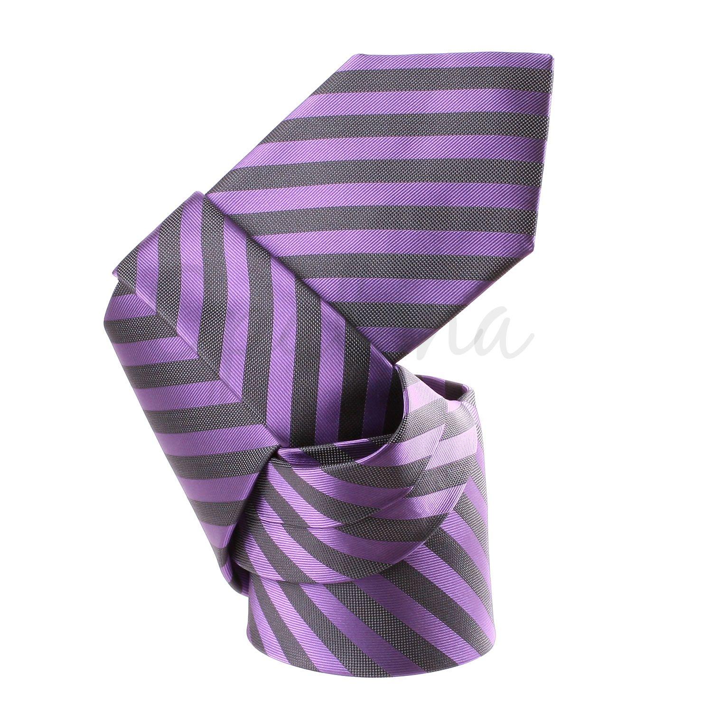 Cravate ray e parme et gris - Gris et parme ...