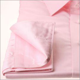 Chemise rose tissu gabardine à poignets mousquetaires