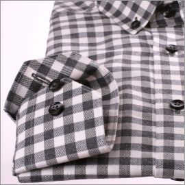 Chemise à carreaux gris et blancs et col boutonné
