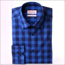 Chemise à grands carreaux bleus et bleu marine