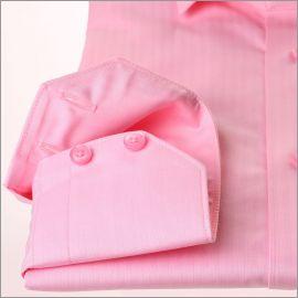 Chemise rose à petits chevrons