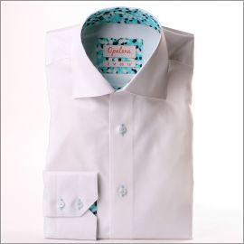 Chemise blanche à col et poignets à motifs turquoises, blancs et bleu marine