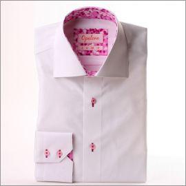 Chemise blanche à col et poignets à motifs roses, blancs et mauves