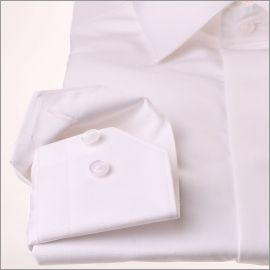 Chemise blanche tissu popeline à gorge cachée