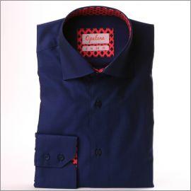Chemise bleu marine à col et poignets à motifs losanges bleus sur fond rose