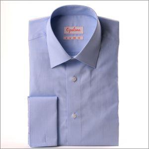 Chemise fil à fil bleu ciel à poignets mousquetaires