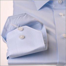 Chemise à fines rayures bleu ciel twill