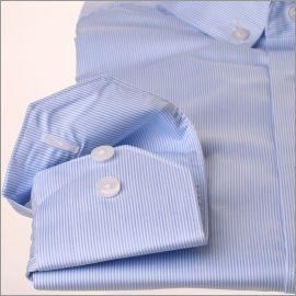 Chemise col boutonné à fines rayures bleues