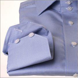 Chemise pied de poule blanche et bleue