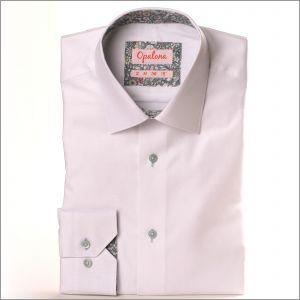 Chemise blanche avec col et poignets à fleurs grises