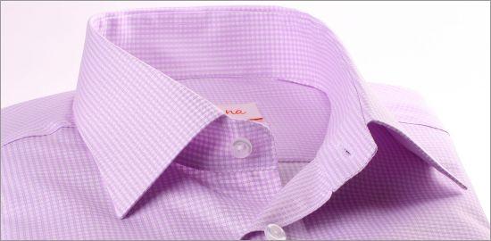 Chemise à petits carreaux mauves et blancs à poignets mousquetaires