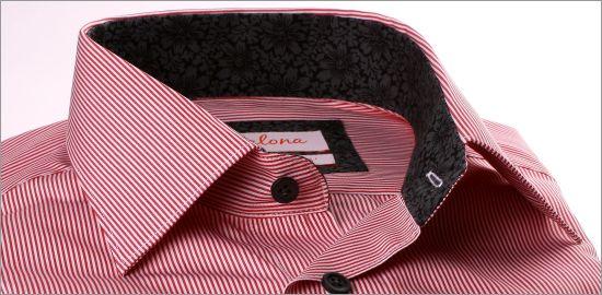 Chemise à fines rayures rouges et blanches, col et poignets à motifs fleuris gris et noirs