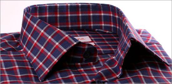 Chemise à carreaux bleu marine, gris et bordeaux