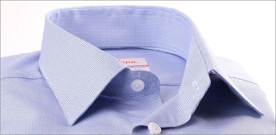 Chemise à petits carreaux pied de poule bleus et blancs