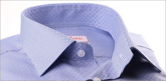 Chemise à carreaux bleus et blancs décalés