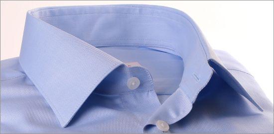 Chemise à micro-chevrons bleu ciel à poignets mousquetaires
