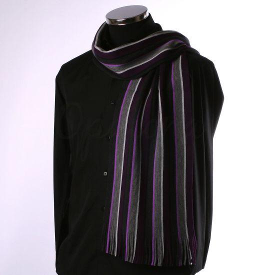 Echarpe rayée violette, mauve et grise